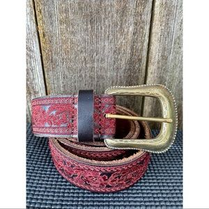 LUCKY BRAND leather red floral embroidered belt